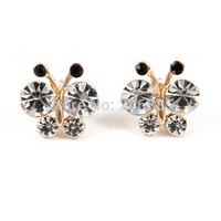 Fashion 18K Gold Full CZ Rhinestone Butterfly Earrings Bee Earring