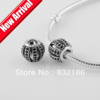 Festival Black Rhinestone Crystal 925 Sterling Silver Hollow Charm Bead Ball,Compatible with Pandora Bracelet Jewelry DIY LW299B