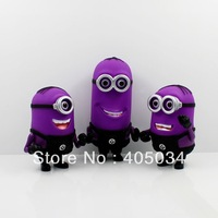 PVC purple minions evil minion plastic 3D eyes despicable me 2 anime action toys figures 3 models/set, 2 sets/lot