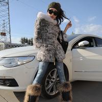 2014 new winter women medium-long hooded rabbit fur outerwear fur coat overcoat Y2P4