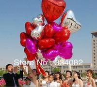 100PCS Wholesale Free Ship 45cm 18inch Heart Shape Alumium Foil Balloons Party Wedding Decoration Red/Blue/Gold/Silver/Rose