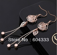 1Pair AAA CZ  Zirconia Rose Flower Long Dangle Earrings Zircon Crystal Earrings Bridal Jewelry Accessories