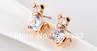 1Pair AAA CZ  Zirconia Cat  Earrings  Zircon Crystal Stud Earrings Young Girl  Jewelry Accessories