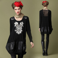 2013 long-sleeve mid waist plus size embroidery one-piece dress PU lace gauze fashion mm lantern skirt