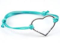 Fashion Wholesale 50 pcs/Lot Cuff Cotton Hemp Adjustable Handmade Braided Bracelet Retro Silver Heart Lover Gift Free Shipping