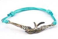 Wholesale 50 pcs/Lot Cuff Cotton Hemp Adjustable Handmade Braided Bracelet Retro Copper Dove Bird Peace Pendant Free Shipping