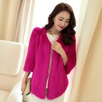 Short design mink hair Women female marten fur overcoat leather coat