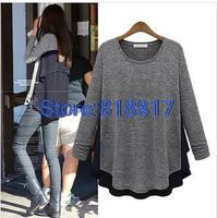 BAIYIMEI Brand Winter Chiffon Stitching Round Neck Long-sleeved T-shirt Bottoming Shirt Women Blouse Free Shipping