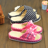 free   shipping Double polka dot pattern lovers linen slippers at home summer midfoot slip-resistant platform