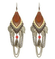 Min.order is $10(mix order) SPX3664 2014 Fashion Hot Sale Water Drop Vintage Leaf Earrings Jewelry E-JOY LIFE