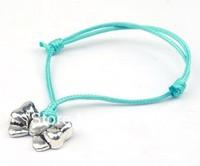 Free Shipping Fashion Wholesale 50 pcs/Lot Cuff Cotton Hemp Adjustable Handmade Braided Bracelet Retro Silver Bow Flowers Gift