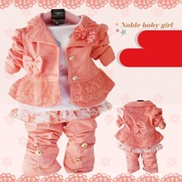 Free shipping Baby children girls clothing sets 3pcs suits children hoody coat+shirt+pants baby girl clothes