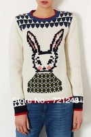 Topshop 2013 New Russian Federation rabbit sweater women sweaters women O-neck rabbit Sweater Knitted Pullovers 6164