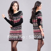 New  Fashion Autumn and Winter  o-neck medium-long   slim sweater