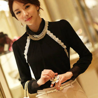2013 turtleneck lace slim long-sleeve T-shirt basic shirt female plus size, free shipping