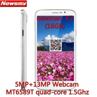 Free shipping Newman K2 5.5 inches IPS FHD 1920*1080px MT6589T Quad core 1.5GHz 5MP+13MP 1GB/16G Android 4.2 GPS 3G smartphone