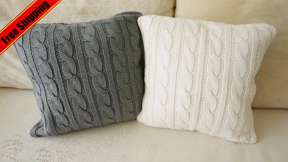 Вязанные наволочки для диванная