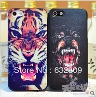 High quality 3D Dog Tiger Roar Cross Quote Hard Case back cover For iPhone 4 4S 5 5S  Mobile case for apple 4G 5G Free Shipping