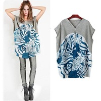 [s1267]  2014 summer selling wind v-neck printing long splicing in easing show thin plus-size women's short sleeve T-shirt