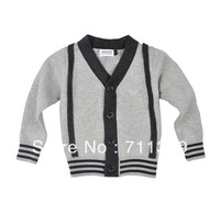 2014 New European and American Style Grey Cotton Striped Children Sweater Single Breasted Long Sleeves Boys Sweater Free Ship