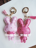 2013 NEW Free shipping fashion women accessories car keychain bag charm multi-color camel leather rabbit kawaii novelty item