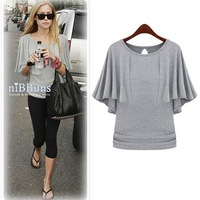 [s1268]European2014 summer batwing coat cloak shawl false two-piece T-shirt will show thin women's T-shirt