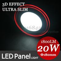 3D effect RED edge shape light, ceiling light 20W SMD5730 high lumens 85V-265V rounded led panel light for meeting room salon