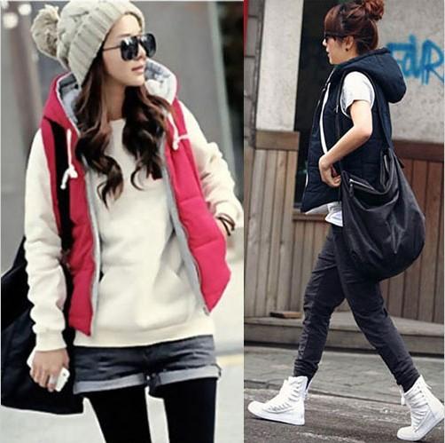 Корейский стиль свободного покроя женщин тёплый закрытый воротник жилет парка жилет топы пиджаки wc26 Camisolas