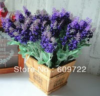 2014 Hot !! Free Ship  High Simulation Purple 10 heads  Artificial Lavender Flower in Wedding Decoration FL046