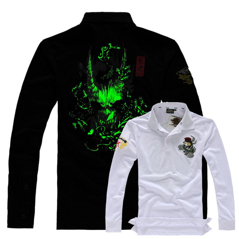 Free shipping 2014 autumn long-sleeve male shirts men embroidery top vintage sports jerseys tennis undershirts casual shirts(China (Mainland))