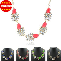 2013 Fashion Gold Chain Resin Choker  Shourouk Necklace  Luxury Crystal Flower Statement Necklace Rhinestone Party Jewelry