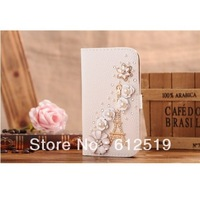 Handmade 3D Rhinestone White Flower Golden Tower PU Leather Flip Case Cover for Samsung i9300 Galaxy S3 III