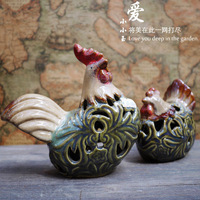 Ceramic glaze chicken combination : lucky Ruyi crafts
