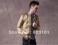 Free Shipping New Slim Sexy Top Designed Mens Jacket Coat Colour:khaki, army green