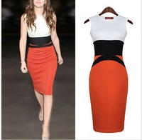 free shipping 2014 new  HOT Womens Celebrity Midi Bodycon Ladies Pencil Evening Slimming Panel Tea Dress WC25