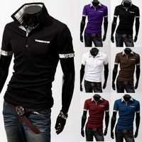 [M45] free shipping 2014 New Casual Men's Stylish Slim Short Sleeve Shirts Fit Checked T-Shirts Tee high quality 6 Color 4 Size