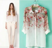 Free shipping! 2013 New Long Sleeve Floral Prints Chiffon Shirts For Women,Casual Loose Blouses,Slim,Turn-down Collar,S/M/L