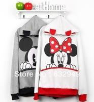 wome's  new Autumn  Korean cartoon Mickey pattern hooded sweater fashion hooded Sweatshirts
