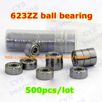 500pcs /lot 623ZZ 623ZZ 3X10X4mm 3*10*4mm 623-2Z metal shielded steel miniature ball bearing