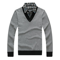 2013 autumn teenage faux two piece shirt collar sweater male slim thin sweater