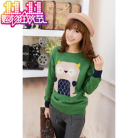 Free shipping Fashion sweater 2013 women's sweet thickening sweater cartoon owl jacquard basic shirt all-match sweater female