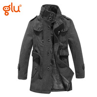 Glu children's clothing male child wool coat child woolen outerwear autumn and winter trench medium-long woolen overcoat
