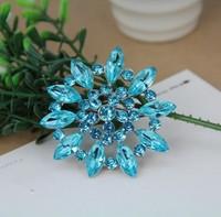 blue crystal flower brooch metal rhinestone brooch jewelry for women new design fashion free shipping