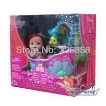 New Genuine boneca princesa de conto de fadas real Nursery sereia magia banheira & cinderela gangorra Playset mini bonecas para meninas(China (Mainland))