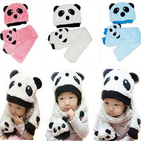 Panda baby hats caps with scarve for winter Children accessories cute animal shape for 2014 free shipping