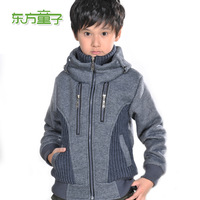 New 2014 Male child outerwear 2013 child autumn and winter outerwear thickening child large sweatshirt wadded jacket