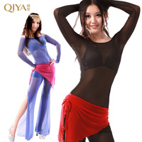 Belly dance set autumn and winter long-sleeve gauze piece set indian dance quality clothes