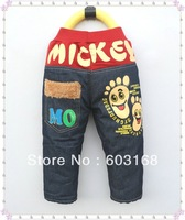 2013 Mickey Kid Jeans Baby Children Jeans Warm Jeans Trousers {iso-13-11-13-A6}