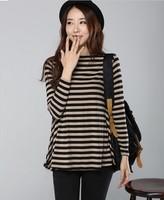 2013 free shipping big discount fashion women big size 100% cotton t shirt stripe t-shirts long sleeves XXXXL fashion women