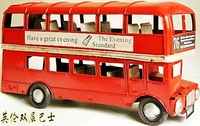 Vintage metal model home decoration birthday gift metal double layer bus